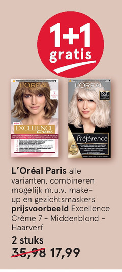 l oreal haarkleuring 1 2 3 7 100 paris stockholm new excellence creme verzorgende kleuring coloration couverture des blancs beschermende price kleur bout combineren make up gezichtsmaskers cr middenblond haarverf stuks 35 17 99