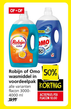 omo robijn wasmiddel 30 50 80 160 care serum robin color wit min lang flacon ml actieprijs 10 00