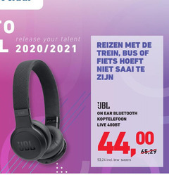 jbl koptelefoon to 2020 2021 release your talent reizen trein bus fiets saai live ear bluetooth 44 00 65 btw