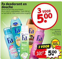 fa douchegel deodorant 3 150 200 500 douche assortiment multipakken foam ml bad combinaties 00 deospray pink passion tinto fresh force dubbele spaar punten moments