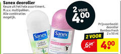 sanex deodorant 2 50 400 deoroller assortiment multipakken combinaties bamboo fresh ml isolerende