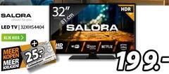 salora led breedbeeldtelevisie 32 closer to you 100hz cm tv klik hd fi ziggo netflix video ready cadeaukaart expert