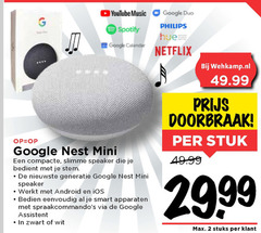 google media streamer 1 2 youtube music duo spotify philips netflix calendar doorbraak stuk mini compacte speaker bedient stem generatie android bedien smart apparaten assistent zwart wit 99 stuks
