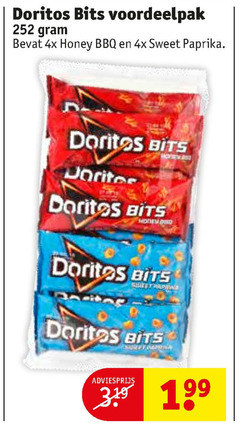 doritos zoutjes 379 bits 4x honey bbq sweet paprika