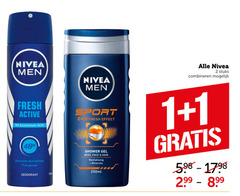 nivea douchegel deodorant 1 2 1500 men stuks combineren fresh active sport effect aluminium shower gel body face hair minerals sensation fraicheur fris gevoel 250ml