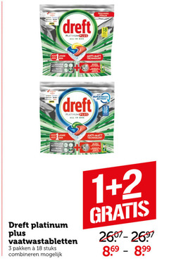 dreft vaatwasmiddel 1 2 3 18 nouveau platinum all one lange keer anti matt technology nettoyage reiniging quick wash action vaatwastabletten pakken stuks combineren