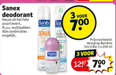 sanex deodorant 1 3 12 20 200 700 assortiment multipakken combinaties san zero protect deospray bamboo invisible ml