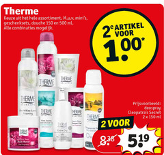 therme deodorant douchegel bodylotion 2 28 150 500 assortiment geschenksets douche ml combinaties artikel 00 deospray secret