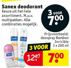 sanex deodorant 3 200 700 assortiment multipakken combinaties deospray bamboo invisible vero ml
