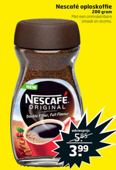 nescafe oploskoffie 200 aroma new original double filter full flavour